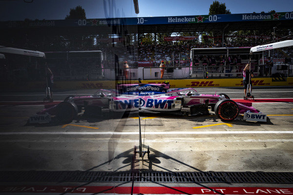 Lance Stroll, Racing Point RP19, in the pit lane