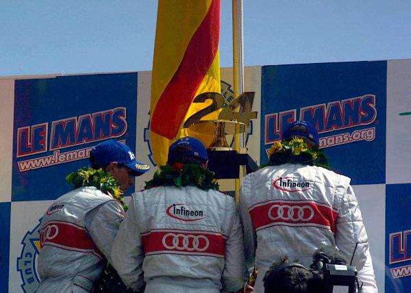 2002 Le Mans 24 Hour Race, Le Mans, France.Sunday 16th June 2002.Audi win Le Mans 24 Hour race, Podium.World Copyright Jennifer Cullis/LAT Photographic