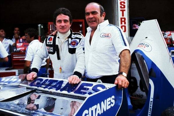 (L to R): Patrick Depailler (FRA) Tyrrell, who finished the race in eleventh position, was announced by Guy Ligier (FRA) Ligier Team Owner as a Ligier driver for the 1979 season during practice. Italian Grand Prix, Rd 14, Monza, Italy, 10 September 1978.BEST IMAGE