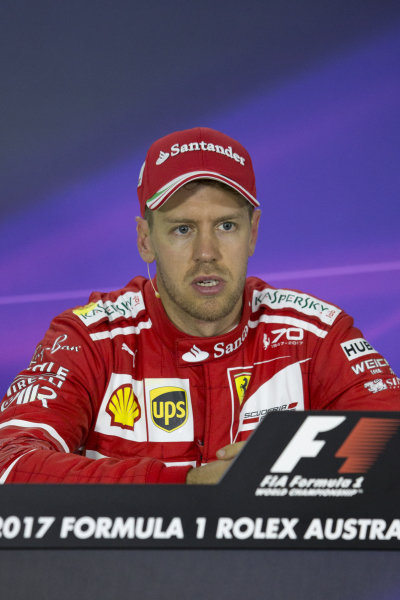 Race winner Sebastian Vettel (GER) Ferrari in the Press Conference at Formula One World Championship, Rd1, Australian Grand Prix, Race, Albert Park, Melbourne, Australia, Sunday 26 March 2017.