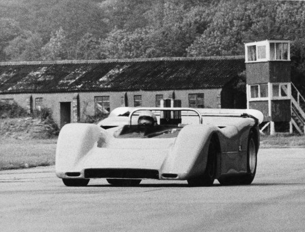 Goodwood testing, Goodwood, Sussex, Great Britain.Bruce McLaren testing a CanAm McLaren M8A-Chevrolet similar to the one he was testing when he was killed at the same circuit.World - LAT Photographic