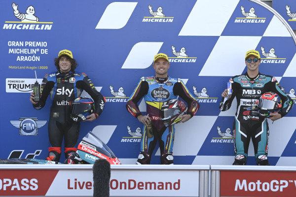 Polesitter Sam Lowes, Marc VDS Racing, second place Marco Bezzecchi, Sky Racing Team VR46, third place Fabio Di Giannantonio, Speed Up Racing.