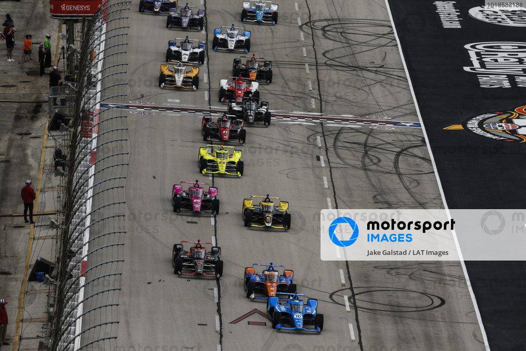 #10: Alex Palou, Chip Ganassi Racing Honda, #12: Will Power, Team Penske Chevrolet, #9: Scott Dixon, Chip Ganassi Racing Honda, #60: Jack Harvey, Meyer Shank Racing Honda, #26: Colton Herta, Andretti Autosport Honda, start