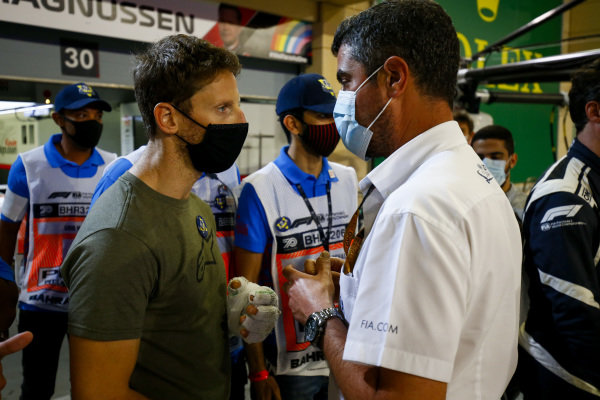 Romain Grosjean, Haas F1 meets the marshals and medical staff including Michael Masi, Race Director who helped him in his crash at last weeks Grand Prix