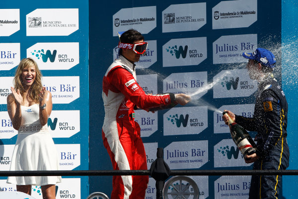 2014 Formula E  Punta Del Este e-Prix, Uruguay Saturday 13 December 2014. Nelson Piquet Jr (BRA)/China Racing - Spark-Renault SRT_01E & Sebastien Buemi (SWI)/E.dams Renault - Spark-Renault SRT_01E  Photo: Sam Bloxham/LAT/Formula E ref: Digital Image _G7C6205