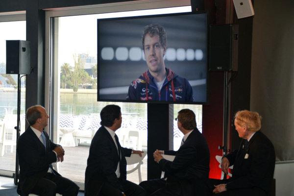 A message from Sebastian Vettel (GER) Red Bull Racing. 2014 Formula 1 Rolex Australian Grand Prix Media Launch, Carousel, Albert Park, Melbourne, Australia, 3 February 2014.