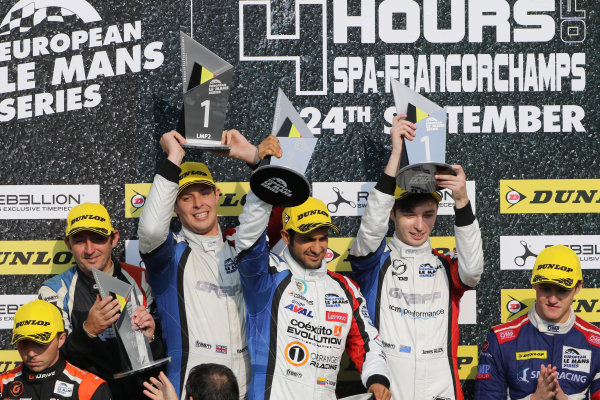2017 European Le Mans Series  Spa-Franchorchamps, Belgium 22nd-24th September 2017 Podium - #40  James Allen (AUS) / Gustavo Yacaman (COL) / Richard Bradley (GBR) ? GRAFF - Oreca 07 - Gibson  World copyright. JEP/LAT Images