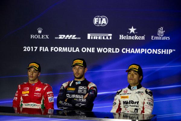 2017 FIA Formula 2 Round 9. Autodromo Nazionale di Monza, Monza, Italy. Saturday 2 September 2017. Antonio Fuoco (ITA, PREMA Racing), Luca Ghiotto (ITA, RUSSIAN TIME), Nobuharu Matsushita (JPN, ART Grand Prix).  Photo: Zak Mauger/FIA Formula 2. ref: Digital Image _56I8445