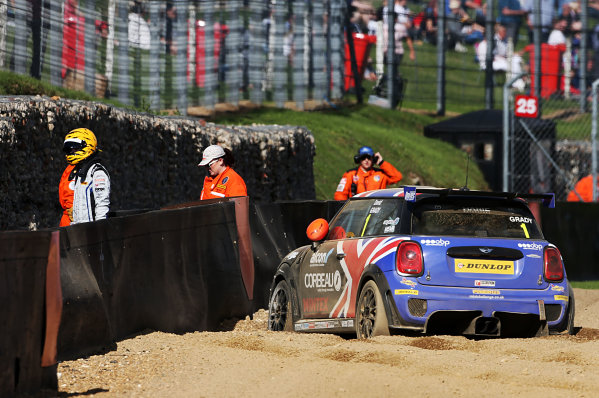 2017 MINI Challenge, Brands Hatch, Kent. 5th - 6th August 2017. David Grady MINI JCW crashes in race 2. World Copyright: JEP/LAT Images.