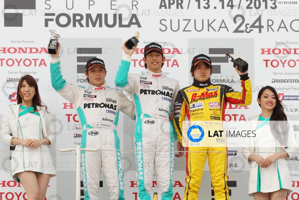 Suzuka, Japan. 13th - 14th April 2013. Rd 1. Race 2 Winner  Yuichi Nakayama ( #36 PETRONAS TEAM TOM'S ) 2nd position Takamoto Katsuata ( #37 PETRONAS TEAM TOM'S ) 3rd position Katsumasa Chiyo ( #50 B-MAX ENGINEERING ) podium, portrait World Copyright: Yasushi Ishihara/LAT Photographic Ref: 2013_JF3_Rd1&2_017