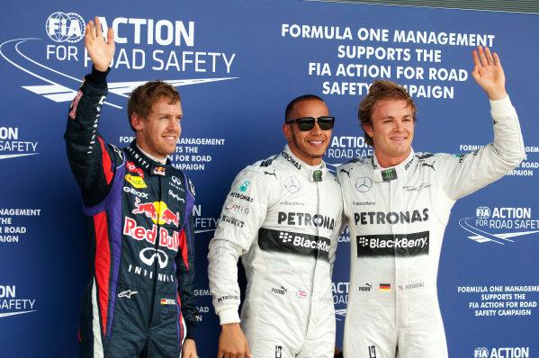 Silverstone, Northamptonshire, England 29th June 2013 Top three qualifiers Lewis Hamilton, Mercedes AMG, Nico Rosberg, Mercedes AMG, and Sebastian Vettel, Red Bull Racing World Copyright: Chris Bird/  ref: Digital Image _CJB6513