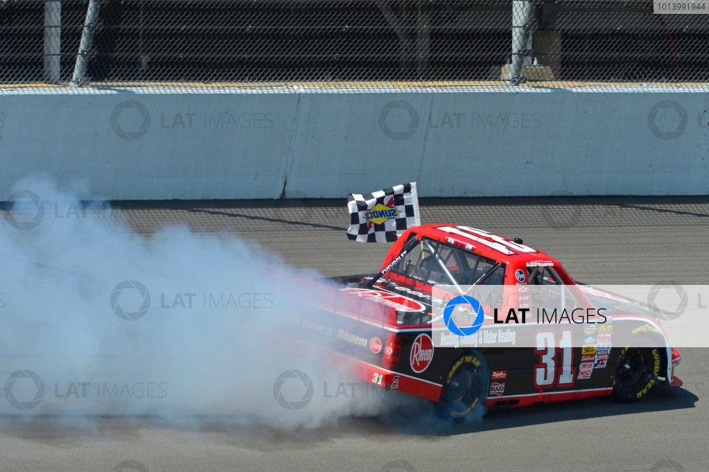 August 16-17, 2013, Brooklyn, Michigan USA James Buescher does his Victory Burnout © 2013, Brian Czobat LAT Photo USA