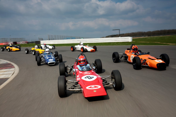 2017 Silverstone Classic Media Day. Silverstone, Northamptonshire. 23rd May 2017. Tiff Needell leads the Formula Ford field. World Copyright: JEP/LAT Images.