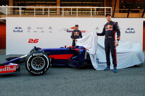Toro Rosso STR12 Formula 1 Launch. Barcelona, Spain  Carlos Sainz Jr, Toro Rosso. and Daniil Kvyat, Toro Rosso.  Sunday 26 February 2017.  World Copyright: Dunbar/LAT Images Ref: _31I9705