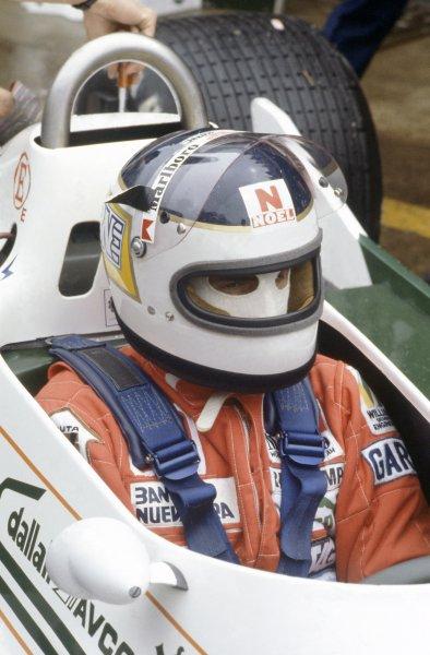 1980 Brazilian Grand Prix.Interlagos, Sao Paulo, Brazil. 25-27 January 1980.Carlos Reutemann (Williams FW07B-Ford Cosworth), retired. Portrait, helmet, cockpit.World Copyright: LAT PhotographicRef: 35mm transparency 80BRA09