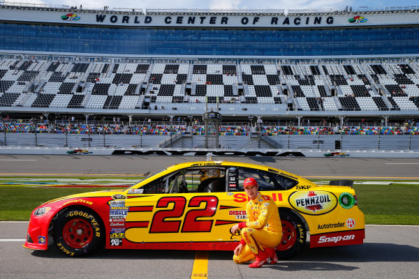 13-21 February, 2016, Daytona Beach, Florida USA   Joey Logano, driver of the #22 Shell Pennzoil Ford, poses with his car after qualifying for the NASCAR Sprint Cup Series Daytona 500 at Daytona International Speedway on February 14, 2016 in Daytona Beach, Florida.   LAT Photo USA via NASCAR via Getty Images