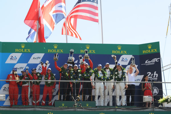 2017 Le Mans 24 Hours Circuit de la Sarthe, Le Mans, France. Sunday 18th  June 2017 GT AM Podium  World Copyright: JEP/LAT Images