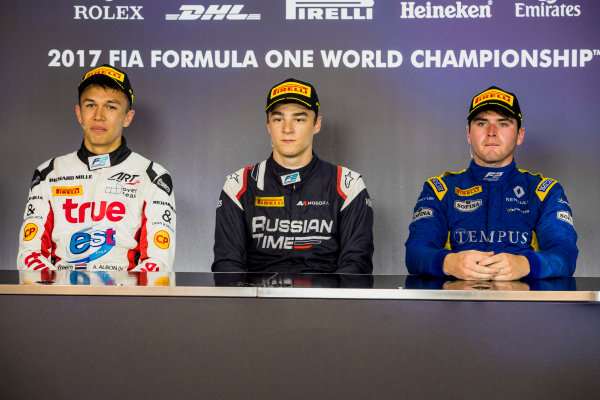2017 FIA Formula 2 Round 5. Red Bull Ring, Spielberg, Austria. Sunday 9 July 2017. Alexander Albon (THA, ART Grand Prix), Artem Markelov (RUS, RUSSIAN TIME) and Oliver Rowland (GBR, DAMS).  Photo: Zak Mauger/FIA Formula 2. ref: Digital Image _54I0455