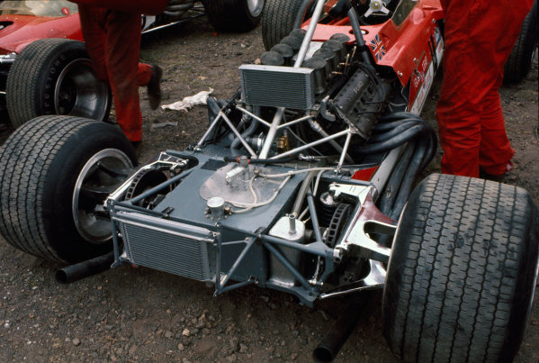 Clermont-Ferrand, France. 6 July 1969 John Miles, Lotus 63-Ford, retired, paddock detail World Copyright: LAT Photographic. Ref: 69FRA23.