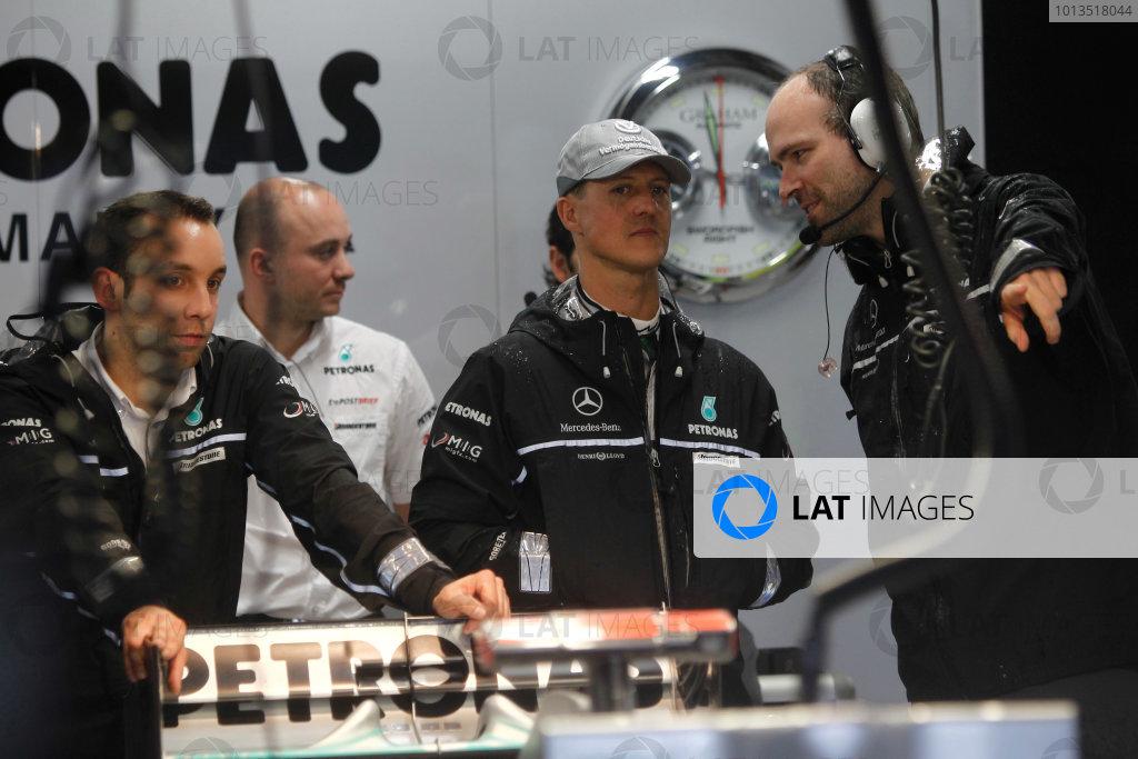 Suzuka Circuit, Suzuka, Japan. 9th October 2010. Michael Schumacher, Mercedes GP W01. Portrait.  World Copyright: Andrew Ferraro/LAT Photographic ref: Digital Image _Q0C8987