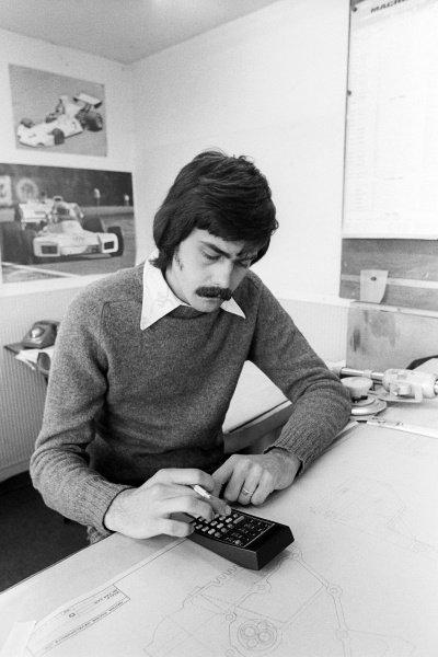 Gordon Murray (RSA) Brabham Designer applies his trade at the Brabham MRD headquarters. Formula One World Championship, Brabham MRD Headquarters, Chessington, England, 1974.