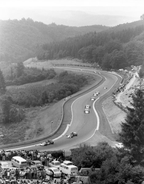 1972 German Grand Prix. Nurburgring. 30th July. The cars race up the uphill section leading into Karussell. Action.  World Copyright: LAT Photographic. Ref: Issue August 1972