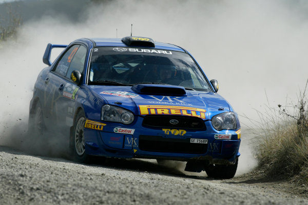 2004 FIA World Rally Champs. Round four, Propecia Rally New Zealand.15th-18th April 2004.Mark Higgins, Subaru, PWRC action.World Copyright: McKlein/LAT