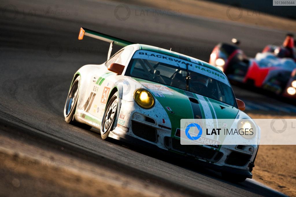 American Le Mans Series. Laguna Seca, Monterey, California. 15th - 17th September 2011. Tim Pappas / Jeroen Bleekemolen / Sebastiaan Bleekemolen, Black Swan Racing, Porsche 911 GT3 Cup. Action. Photo: Drew Gibson/LAT Photographic. ref: Digital Image _Y2Z6898