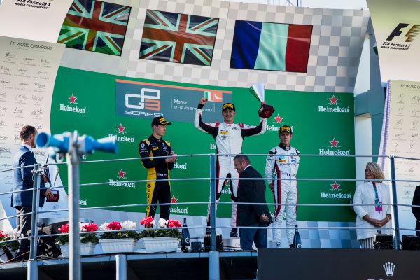 2017 GP3 Series Round 6.  Autodromo Nazionale di Monza, Monza, Italy. Sunday 3 September 2017. Jack Aitken (GBR, ART Grand Prix), George Russell (GBR, ART Grand Prix), Anthoine Hubert (FRA, ART Grand Prix).  Photo: Zak Mauger/GP3 Series Media Service. ref: Digital Image _56I8901