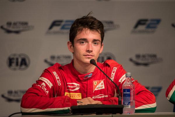 2017 FIA Formula 2 Round 10. Circuito de Jerez, Jerez, Spain. Saturday 7 October 2017. Charles Leclerc (MCO, PREMA Racing) in the press conference. Photo: Andrew Ferraro/FIA Formula 2. ref: Digital Image _FER2337