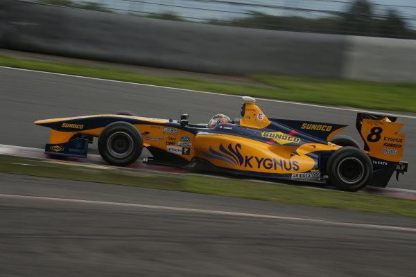 2014 Super Formula Series. Fuji, Japan. 11th - 13th July 2014. Rd 3. Pole position, Andrea Caldarelli ( #8 Team KYGNUS SUNOCO SF14 ) action. World Copyright: Yasushi Ishihara / LAT Photographic. Ref: 2014SF_Rd3_021.JPG