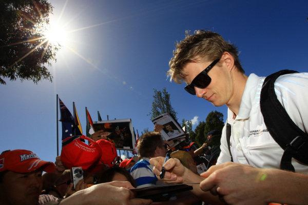 Nico Hulkenberg (GER) Force India F1 signs autographs. Formula One World Championship, Australian Grand Prix, Rd1, Qualifying Day, Albert Park, Melbourne, Australia, Saturday 17 March 2012.