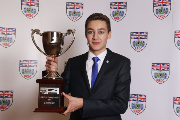 2014 BRDC Annual Awards The Grand Connaught Rooms, London, UK Monday 8 December 2014. George Russell with his BRDC Formula 4 Champion's Trophy. World Copyright: Ebrey/LAT Photographic. ref: Digital Image Russell-03