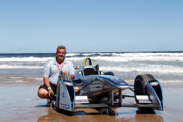 FIA Formula E Test Day. Formula E Car on the beach. Punta Del Este, Uruguay, South America. Formula E Third Race Event, 11th - 14th December 2014. Sunday 14 December 2014.  Photo: Adam Warner/LAT/FE ref: Digital Image _L5R5210