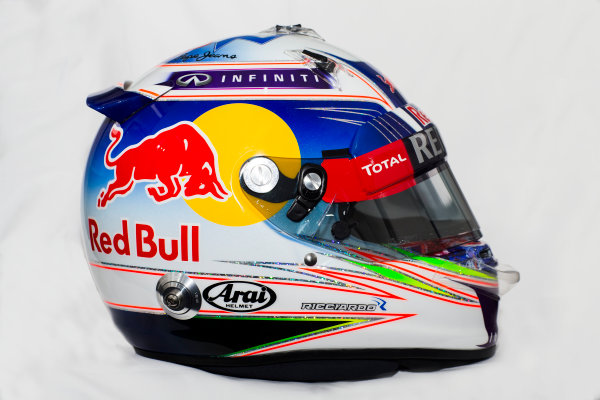 Circuito de Jerez, Jerez, Spain. Tuesday 3 February 2015. Helmet of Daniel Ricciardo, Red Bull Racing.  World Copyright: Red Bull Racing (Copyright Free FOR EDITORIAL USE ONLY) ref: Digital Image 2015_RED_BULL_HELMET_17