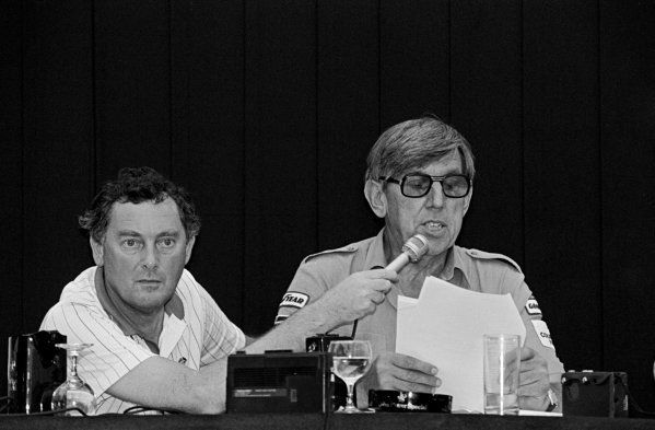 (L to R): Television commentator Barrie Gill (GBR) holds the microphone during a press conference given by Ken Tyrrell (GBR) Tyrrell Team Owner to announce his teamÕs decision to appeal their controversial exclusion from the Formula One World Championship.