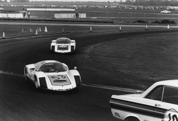 Daytona, Florida, United States. 4-5 February 1967.Udo SchŸtz/Rolf Stommelen/Gijs van Lennep (Porsche 906), retired, leads Gerhard Mitter/Jochen Rindt (Porsche 906 E), retired, action. World Copyright: LAT Photographic.Ref:  1480 - 33A.