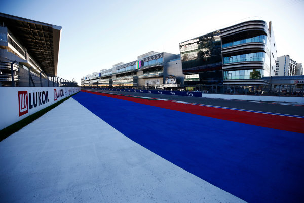 Sochi Autodrom, Sochi, Russia. Thursday 27 April 2017. Russian colours on the Sochi Autodrom pit straight run-off area.  World Copyright: Andy Hone/LAT Images ref: Digital Image _ONY9152