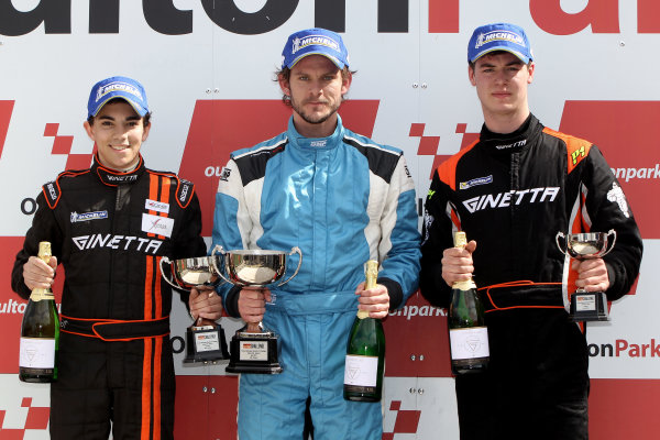 2014 Protyre Motorsport Ginetta GT5 Challenge, Oulton Park, Cheshire. 19th April 2014. Race 1 G40 Podium (l-r) Ollie Chadwick (GBR) Xentek Motorsport Ginetta G40, Gary Simms (GBR) Buddy Racing Ginetta G40, George Gamble (GBR) TCR Ginetta G40. World Copyright: Ebrey / LAT Photographic.
