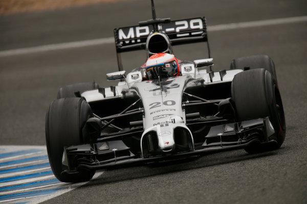 2014 F1 Pre Season Test 1 - Day 4 Circuito de Jerez, Jerez, Spain. Friday 31 January 2014. Kevin Magnussen, McLaren MP4-29 Mercedes. World Copyright: Andrew Ferraro/LAT Photographic. ref: Digital Image _79P7889.JPG