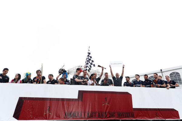 Circuit Gilles Villeneuve, Montreal, Canada. Sunday 11 June 2017. The victorious McLaren raft race team top the podium. World Copyright: Glenn Dunbar/LAT Images ref: Digital Image _X4I7457