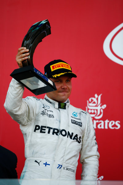 Baku City Circuit, Baku, Azerbaijan. Sunday 25 June 2017. Valtteri Bottas, Mercedes AMG, celebrates second place. World Copyright: Andy Hone/LAT Images ref: Digital Image _ONY9050