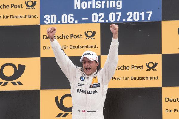 2017 DTM Round 4 Norisring, Nuremburg, Germany Saturday 1 July 2017. Podium:  Race winner Bruno Spengler, BMW Team RBM, BMW M4 DTM World Copyright: Mario Bartkowiak/LAT Images ref: Digital Image 2017-07-01_DTM_Norisring_R1_0438
