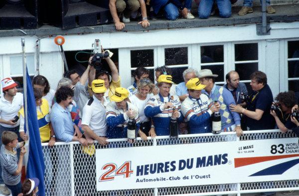 1983 Le Mans 24 hours.Le Mans, France. 18-19 June 1983.Al Holbert/Hurley Haywood/Vern Schuppan (Porsche 956), 1st position.World Copyright: LAT Photographic. Ref: 83LM16.
