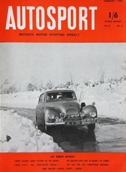 Cover of Autosport magazine, 1st February 1952