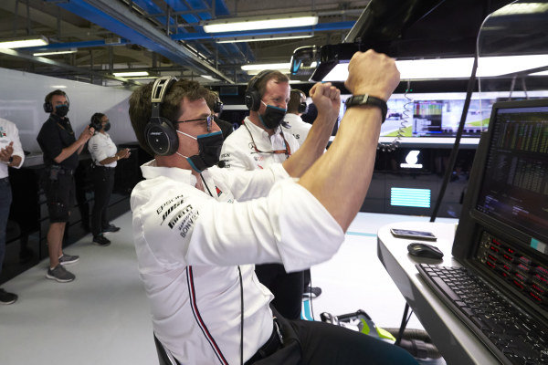 Toto Wolff, Executive Director (Business), Mercedes AMG celebrates in the garage as Mercedes secure the front row