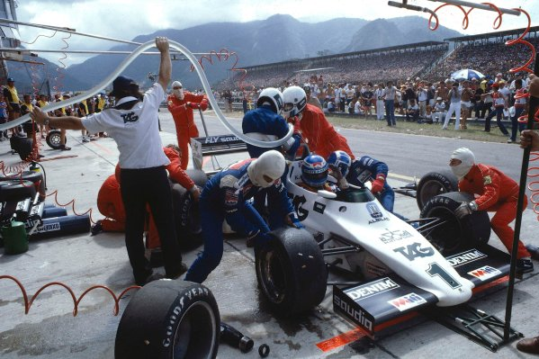 1983 Brazilian Grand Prix.Jacarepagua, Rio De Janeiro, Brazil.11-13 March 1983.Keke Rosberg (Williams FW08C Ford) during a disastrous pitstop, where a small amount of spilt fuel caused a flash-fire which was promptly extinguished by marshals. He returned to his cockpit to finish 2nd but was disqualified for a push start after this stop.Ref-83 BRA 05.World Copyright - LAT Photographic