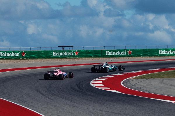 Esteban Ocon (FRA) Force India VJM10 and Lewis Hamilton (GBR) Mercedes-Benz F1 W08 Hybrid at Formula One World Championship, Rd17, United States Grand Prix, Qualifying, Circuit of the Americas, Austin, Texas, USA, Saturday 21 October 2017.