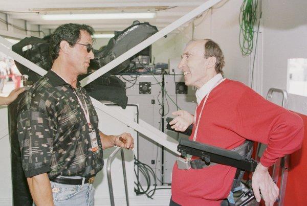1998 Monaco Grand Prix.Monte Carlo, monaco.21-24 May 1998.Frank Williams (Williams Mecachrome) meets Sylvester Stallone.World Copyright - Steve Etherington/LAT Photographic
