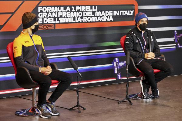 Lando Norris, McLaren and Fernando Alonso, Alpine F1 in the Press Conference